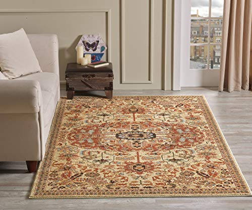 Golden Rugs Gabbeh Collection Persian Oriental Area Rug 5x7 Medallion Hand Touch Vintage Traditional Carpet Texture for Bedroom Living Dining Room 7254 (5x7, ()
