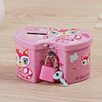 Royare of Lovely Money Bank Gift Exquisite Double-Hearted Piggy Bank Ttin Storage Cassette with Lock (Pink)