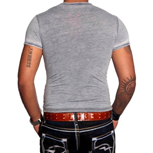 R-NEAL Clubwear Kurzarm Herren Flage T-Shirt Washed Optik Shirt RTN-16707 NEU, Größe:S, Farbe:Blau