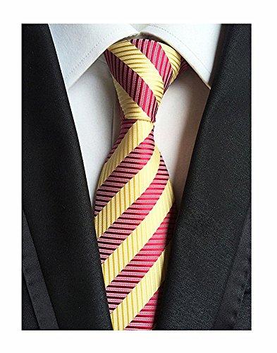 Diagonal Stripe Woven Tie - Secdtie Men's Classic Striped Orange Blue Jacquard Woven Silk Tie Formal Necktie (One Size, Red Yellow)