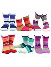 TeeHee Kids Girls Cotton Crew Basic Roll Top Socks 6 Pair Pack