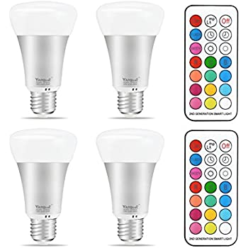 Yangcsl 10W A19 Timing Remote Controller RGBW Color Changing LED Light Bulbs,Double Memory and Wall Switch Control,Daylight White and Color Ambiance Extension (Pack of 4)