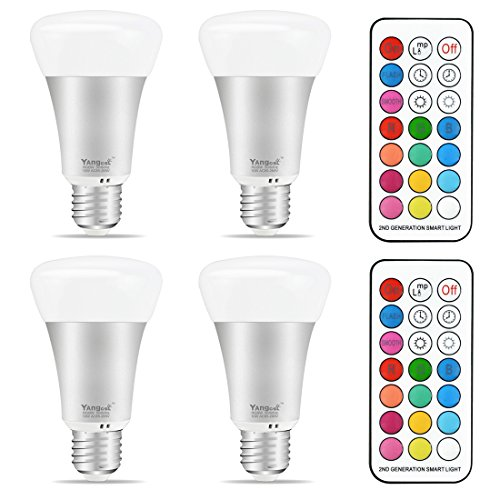 Yangcsl E26 LED Color Changing Light Bulb, 10W Dimmable RGB LED Light Bulbs with Remote Control, 60 Watt Equivalent (Pack of 4)