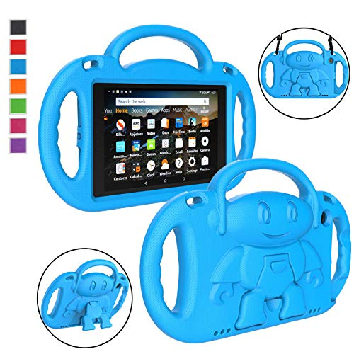 LTROP All-New Fire HD 8 Tablet Case, Fire 8 2018 Case for Kids - Light Weight Shock Proof Handle Friendly Stand Child-Proof Case for Fire 8 HD Display Tablet Bumper Cover (2017&2018 Release) - Blue