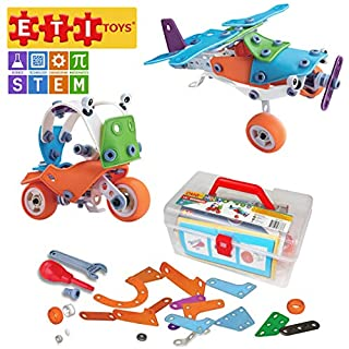 ETI Toys, STEM Learning, 120 Piece Lil Engineers Build & Play Motor Bike and Airplane Building Blocks. 100 Percent Safe, Creative Skills Development. Gift, Toy for 8 to 10 Year Old Boys and Girls