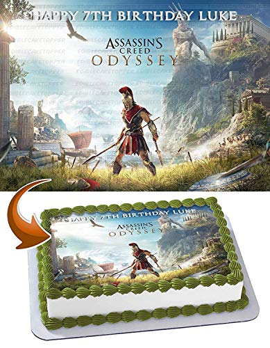 Price comparison product image Assassin's Creed Odyssey Edible Cake Image Topper Personalized Birthday 1 / 2 Sheet Custom Sheet Party Birthday Sugar Frosting Transfer Fondant Image ~ Best Quality Edible Image for cake