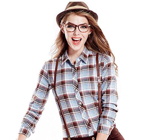 colori a cotone a marrone Camicia maniche Acvip maniche Capispalla lunghe Camicia quadri lunghe a casual in a 13 con studentessa risvolto YqqnH1x
