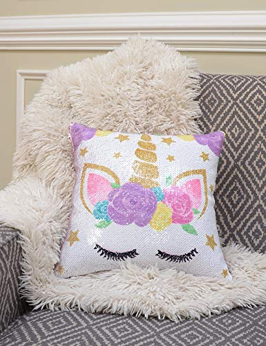 My Greca Unicorn Pillow Case for Girls - Mermaid Reversible Sequin Soft & Glitter Throw Pillow Cover for Kids