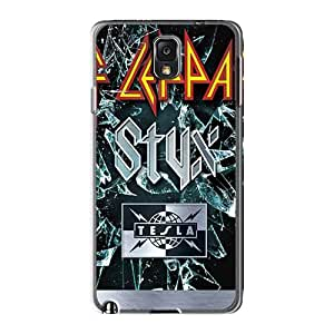 Iphonecase88 Samsung Galaxy Note3 Shock Absorption Cell-phone Hard Cover Unique Design Vivid Def Leppard Band Pattern [kJe1347mhUg]