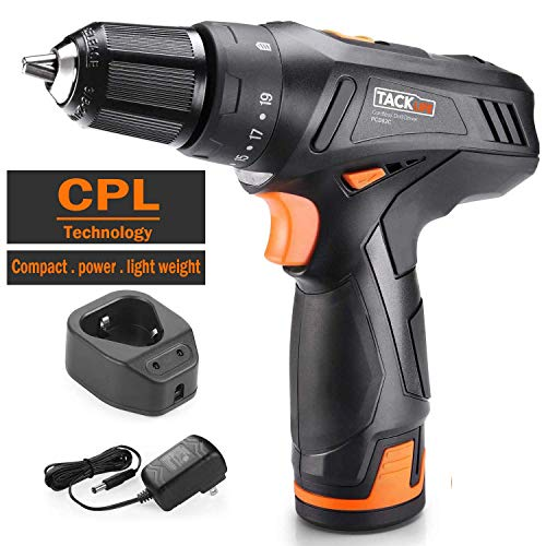 12V Power Drill,Tacklife Cordless Drill Driver,2 Adjustable Speeds,2000 mAh Lithium-Ion Battery,19+1 Torque Settings with LED, Battery Cell and Charger Included,PCD02C