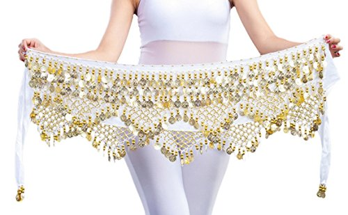 Aivtalk Women Belly Dance Hip Scarf with Coins Velvet Belly Dance Belt 320 Coins