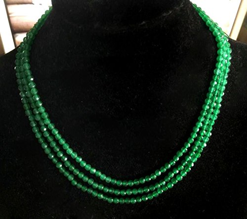 Natural Brazil 3 Rows 4mm Faceted Green Emerald Gems Beads Necklace 17-19'' - Faceted Emerald Green
