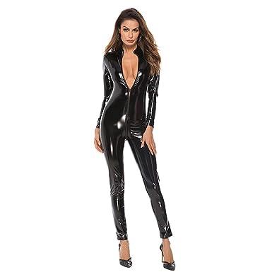 c48d87660aad0 Sunyastor Women s Sexy PU Leather Lingerie Deep V Front Zipper Bodysuit  Outfit Lingerie Clubwear Underwear Sleepwear
