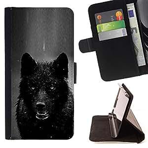 - werewolf angry black white winter wolf - - Prima caja de la PU billetera de cuero con ranuras para tarjetas, efectivo desmontable correa para l Funny HouseFOR Apple Iphone 6 PLUS 5.5