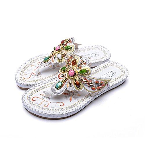 21a2742de6679 Mubeuo Leather Jeweled Thong Sandles Women Flip Flop Sandals White 37 6.5  D(M)