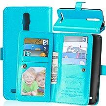 Zenfone 2 5.5 Case,Gift_Source [Multi Card Wallet] [Photo card slots] Premium Magnetic PU Leather Wallet with Built-in 9 Card Slots Folio Flip Case For ASUS zenfone 2 5.5 inch ZE550ML/ZE551ML [Blue]