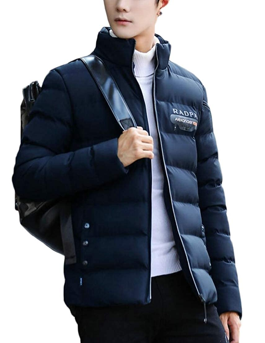 Generic Mens Casual Stand Collar Warm Quilted Packable Down Jacket Puffer Coats