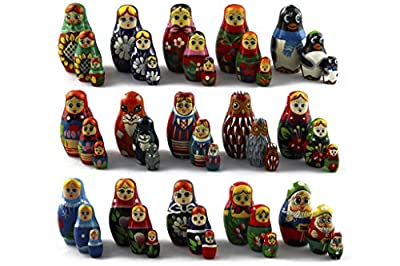 Lot of 15 Matryoshka Matreshka Russian Nesting Doll Nested Wooden Babushka Beautiful Set 3 Pieces Pcs Hand Painted
