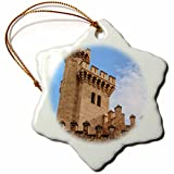 3dRose Danita Delimont - Castles - Spain, Balearic Islands, Mallorca, Palma de Mallorca, Almudaina palace - 3 inch Snowflake Porcelain Ornament (orn_277904_1)