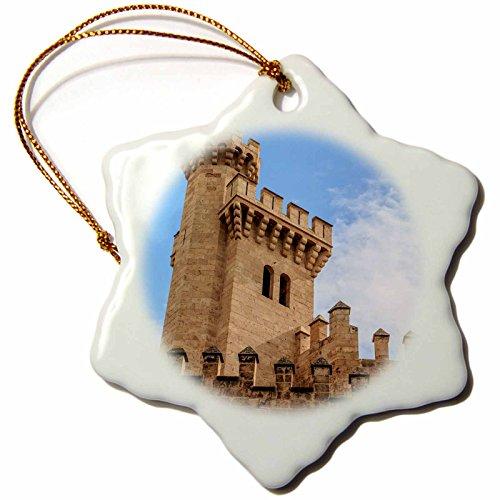 3dRose Danita Delimont - Castles - Spain, Balearic Islands, Mallorca, Palma de Mallorca, Almudaina palace - 3 inch Snowflake Porcelain Ornament (orn_277904_1) by 3dRose