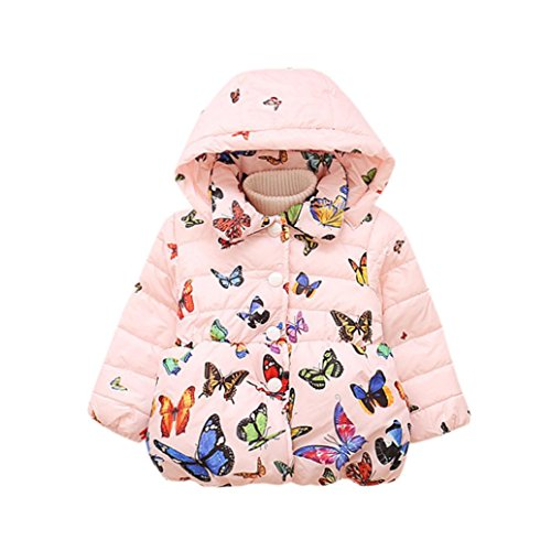 (Baby Girls Winter Sweater Collar Hooded Butterfly Printed Coat Thick Down Jacket (12M, Pink))