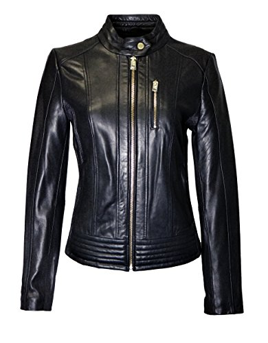 (Michael Kors Snap Collar Moto Leather Jacket-Black-XL)