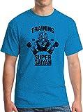 New York Fashion Police Super Saiyan T-Shirt Dragon Anime Z Vegeta Manga Tee Vintage Heather Sapphire L