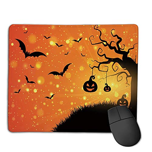 Mouse Pad pad Customized Rectangle Non-Slip Rubber Mousepad,Halloween,Magical Fantastic Evil Night Icons Swirled Branches Haunted Forest Hill Decorative,Orange Yellow Black,Consoles More Enjoy Preci -