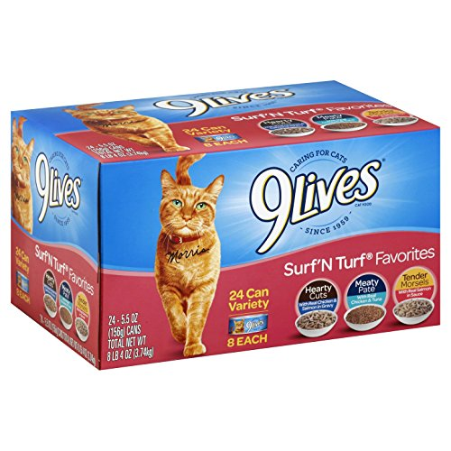 9Lives Surf 'N Turf Favorites Variety Pack, 5.5Oz Cans (Pack Of 24) (Best Canned Food For Humans)