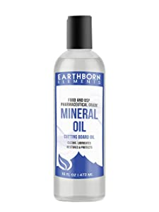 Mineral Oil (16 oz.) by Earthborn Elements, Food & USP Grade, for Cutting Boards, Butcher Blocks, Counter Tops, Wooden Utensils