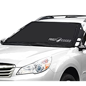 FrostGuard Premium Winter Windshield and Wiper Cover for Snow, Frost and Ice - Cold Weather Protection For Your Vehicle, Standard - Black