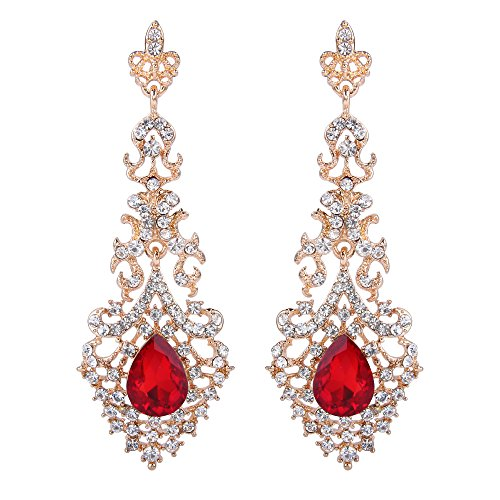 Gold Teardrop Chandelier Earrings - BriLove Wedding Bridal Dangle Earrings for Women Crystal Hollow Teardrop Chandelier Earrings Ruby Color Gold Toned