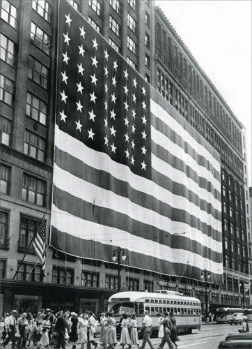 U.S. Flag On J.L. Hudson Store Historic Detroit Blank - Stores Avenue On Michigan