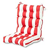 Greendale Home Fashions Outdoor High Back Chair Cushion, Cabana Red