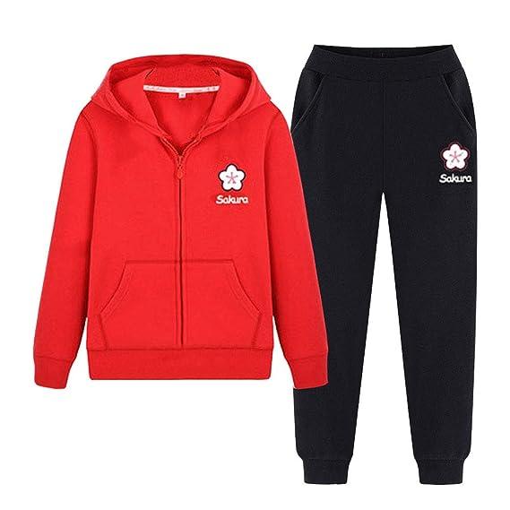 SXSHUN Niñas Traje Deportivo Conjunto de 2 Piezas con Sakura Estampado Chándal + Pantalones