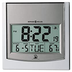 Howard Miller TechTime II Radio-Controlled LCD Wall/Table Alarm Clock, 6W x 1D x 6H