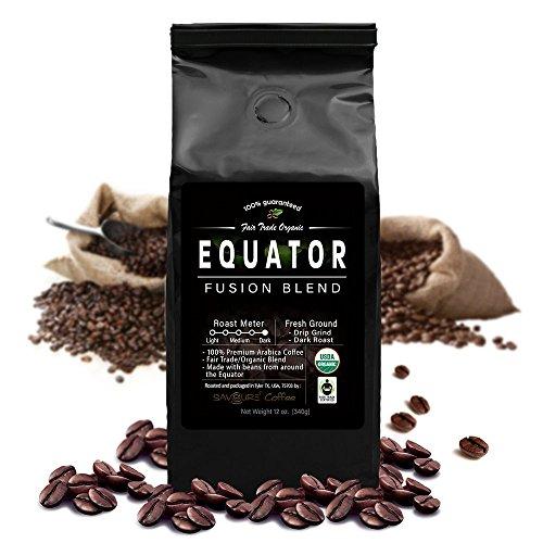 Equator Fusion Blend Breathing Fair Trade Certified Dark Roast Ground Coffee - 12 Oz Bag