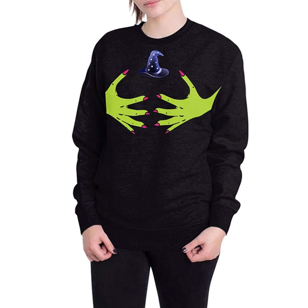 Clearance Sale! Women's Sweatshirt Jiayit Womens Halloween Blouse Scary Ghosts 3D Print Party Loose Long sleeves Top Pullover Sweatshirt (L, Black)