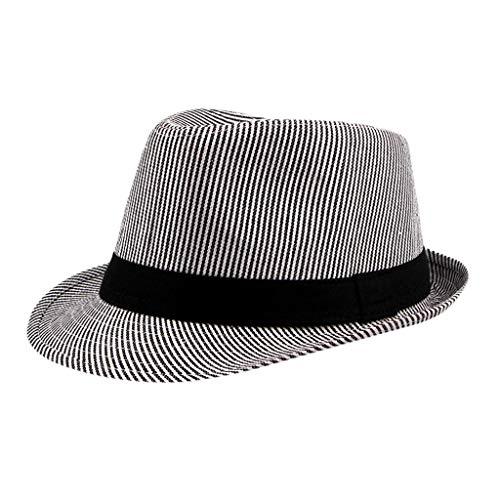 Unisex Trilby Gangster Cap Summer Structured Packable Beach Sun Straw Hat Foldable Church Bowler Caps Vintage Short Brim Hats (Black)