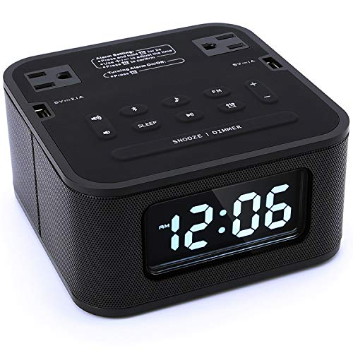 Homtime Radio Alarm Clock Charger with 2 Outlets and 2 USB Ports Charging Station/Wireless Bluetooth Speaker/Micro SD/Snooze / 4 Dimmer/Battery Backup/Digital Clock for Bedrooms, Black (Bluetooth Digital Alarm Clock)