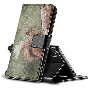Animales Salvajes 197, ardilla, Negro Funda de Piel Cuero Case Magnética con Función de Soporte Carcasa con Diseño Colorido para Sony Xperia Z3