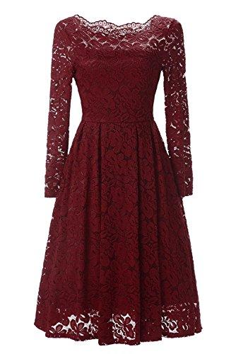 Adodress women's elegant lace Long Sleeve Boat Neck Cocktail Formal Swing Dresses Homecoming dresses