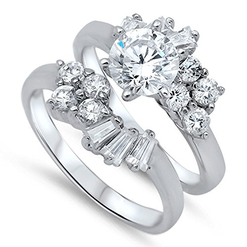White CZ Elegant Unique Solitaire Ring Set .925 Sterling Silver Band Size 5