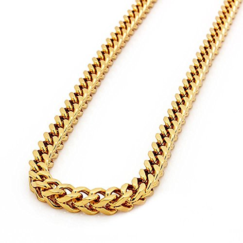 NDG Men's 18k Gold Plated Stainless Steel Franco Chain Necklace 8MM (gold)