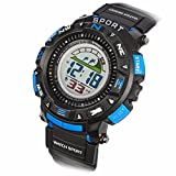Mosunx(TM) Boys Rubber Band LED Digital Watches Business Wrist Watch Wristwatch Sports Waterproof Diving Quartz Wrist Watch (Blue)