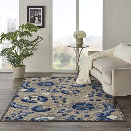 Nourison ALH17 Aloha Indoor/Outdoor Floral Natural/Blue 3'6