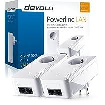 Devolo dLAN 550 duo+ - Kit de inicio de adaptador de comunicación por línea eléctrica PLC (500 Mbps, 2 adaptadores, 2 puertos LAN, enchufe LAN), blanco
