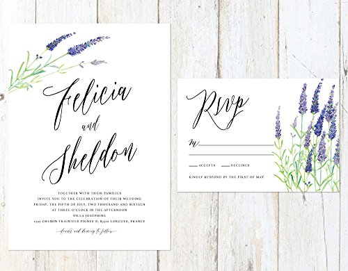 Lavender Wedding Invitation, Watercolor Wedding Invitation, Lavender Save the Date, Provence Wedding by Alexa Nelson Prints