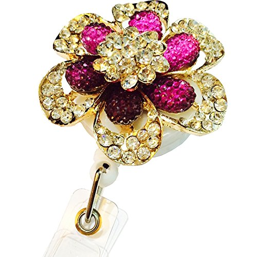 Bling Rhinestone Gold and Purple Color Flower Decorated Retractable Badge Reel ID Holder with Clip Backing for cheap