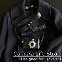 PONTE Camera Lift-Strap, Design for Travelers, Leather, Black